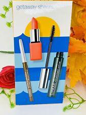 Clinique Getaway Sheers 3Pc Eyeliner,Hi Impact Mascara, LipStick 100% Authentic