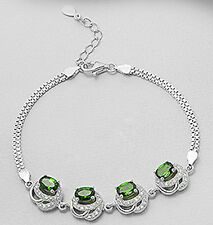 "7.5"" Solid Sterling Silver Sparkling AAA Russian Green Chrome Diopside Bracelet"