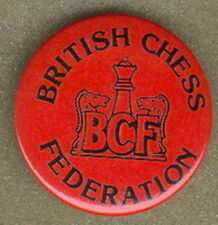BRITISH UNITED KINGDOM UK CHESS FEDERATION OFFICIAL PIN BUTTON