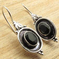 Onyx Earrings Retro Fashion Accessories 925 Silver Overlay Original Cut Black