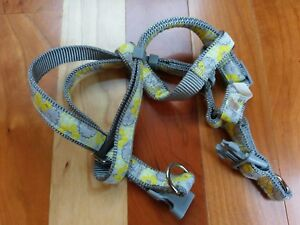 Yellow Gray Floral Flower Dog Harness Collar Leash Sz Small Adjustable Top Paw