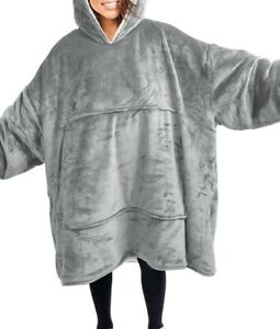 2021 Plush Blanket Hoodie Soft and Warm Night- Robe Spa Bathrobe Fleece Pullover