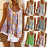 Womens Casual Blouse Floral Cami Shirt Ladies Vest Loose Holiday Pullover Tops