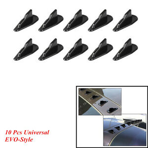 10 Pcs Car SUV EVO-Style Roof Shark Fins Wing Spoilers Generator Black Universal
