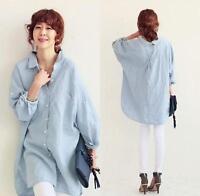 Korean Fashion Women's Cotton Linen Tops T Shirt OL Long Sleeve Loose Blouse New
