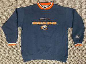 Vintage 90s Starter Chicago Bears Embroidered Crewneck Sweatshirt Men Size Large