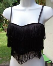 Very Sexy 90s Black Multi Fringed Cropped & Padded Top w/Spaghetti Straps sz Lg