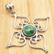 "French Women Fashion ! 925 Silver Plated Green Malachite Gem Unisex Pendant 2"""