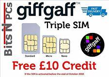 2 X GIFFGAFF SIM CARDS - INCLUDES STANDARD/MICRO/NANO SIM CARD -*£10 Credit
