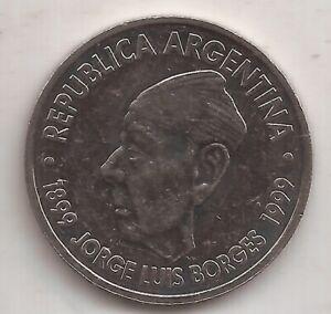 ARGENTINA MONEDA 2 PESOS AÑO 1999 JORGE LUIS BORGES KM 128