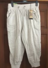 Ladies New Look Hareem Crop Linen Trousers Stone New with Tags size 12