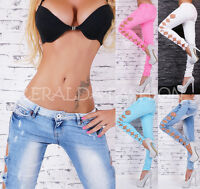 sexy taille basse femmes pantalons jeans skinny tubes latéral ouvert CUT OUT