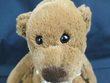 BIG WALMART VERY SOFT BROWN TEDDY BEAR FLOWER BOW POTBELLY PLUSH STUFFED ANIMAL