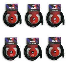 6 VRL 3 Pin DMX Light Cables 10 ft Stage DJ Par Cables 22 AWG Black