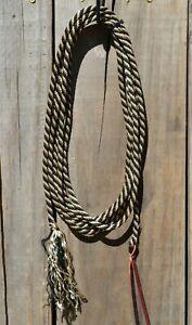 """1/4"""" Solid Braid Get Down Rope - 14' Long - Black/Tan"""