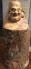 New listing Buddha-Hotei Buddha of Happiness Hand-carved solid wood 11� Block Buddha-Rare