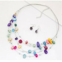 Color Engagement Beads Jewelry Sets Crystal Multi Layer Necklace Earrings Set