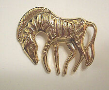 Vintage Gold Tone Grazing Zebra Brooch Pin Shiny Textured Stripes