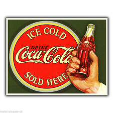 METAL SIGN WALL PLAQUE ICE COLD Coca Cola SOLD HERE Retro poster Advert Coke