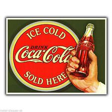 Métal signe plaque murale ice cold coca cola vendu ici rétro affiche pub coke