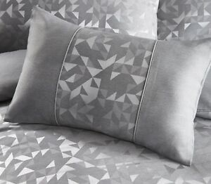 Jacquard Geometric Filled Boudoir Cushion Art Deco Bed Lucien Silver Grey New