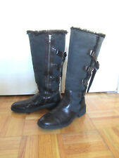 Born Women's Knee High Leather and Shearling Zip Boots Black Brown Size 8 1/2