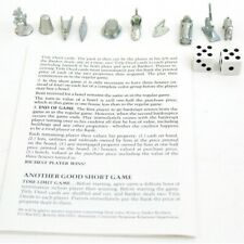Monopoly 1985 Edition Replacement Parts Tokens Dice Instructions