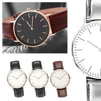 Women Men Casual Luxury Quartz Analog Watch Gold Leather Band Wrist Watches L8