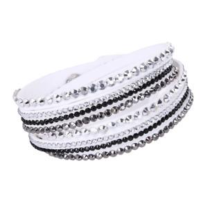 Made with Swarovski Elements White Double Wrap Pave Crystal Slake Bracelet