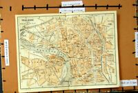 Original Old Antique Print Map 1907 Street Plan Toulouse France Faubourg River