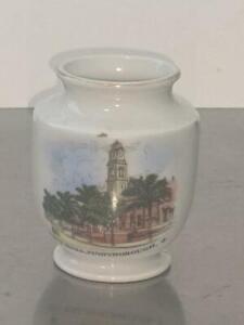 Vintage Souvenir Ceramic Vase- City Hall Maryborough Qld  Opaline Czechoslavakia