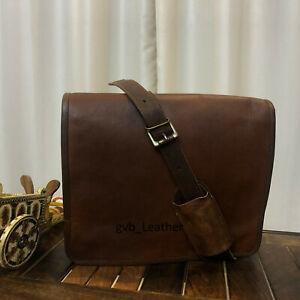 Men's Ideal Real Bull Leather Vintage Messenger Satchel Laptop Briefcase Bag