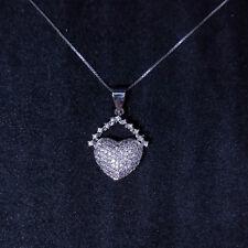 c03ef9c93a1b Nuevo 14k Oro Blanco en Plata de Ley 925 Lindo Encadenado Corazón Cz  Colgante