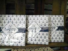 60 x Clayre&Eef Servietten Maritim Papier Papierservietten Blau Anker Happy Day