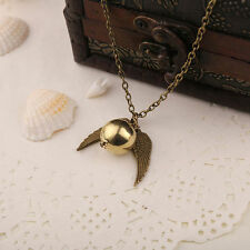 Harry Potter - Vintage Angel Wing Charm Golden Snitch Necklace pendant, Bronze
