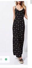womens River island black ditsy maxi dress vintage floral size 12