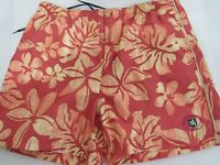 Nat Nast Orange Swim Trunks Swim Shorts Mens Size L Tropical Island Print Board