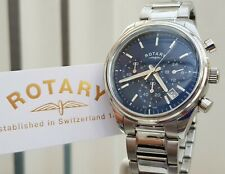 Rotary Mens Watch Chronograph Blue dial Steel Bracelet RRP£230 Boxed Genuine(r45