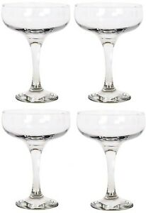 Set of 4 - Glass Champagne Glasses Saucers 235ml Coupe Gift Box
