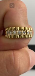 Herren Ring mit Diamanten 18k 750 Gelbgold  Rolex Design - 8,4 Gramm