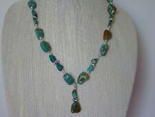 Necklace & Earrings Set, Turquoise bead with silver spacers wire wrapped.
