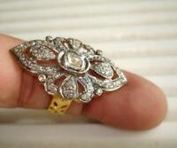 Victorian  2.11ct Rose Cut Diamond Sterling Silver Handmade Finger Ring