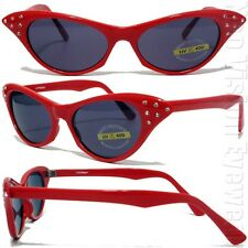 Estrás OJOS DE GATO MUJER Pinup Estilo Vintage Gafas de sol Ahumadas Rojo RSAF