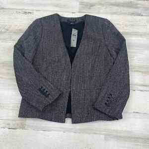 ANN TAYLOR Petite Clasp Front Gray Blazer Jacket Womens Sz 8P NEW WITH TAGS
