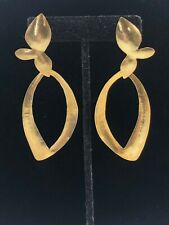 HERVE VAN DER STRAETEN - HAMMERED 24-KARAT GOLD PLATED STATEMENT DANGLE EARRINGS