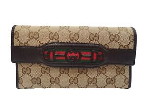 Authentic GUCCI Long Wallet Sherry Purse Canvas Leather Beige