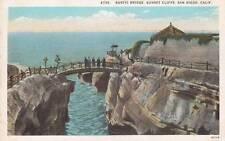 Antique POSTCARD c1910s Rustic Bridge Sunset Cliffs SAN DIEGO, CA 16094