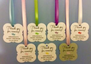 30-100 Thank You Baby Shower Favor Tags Personalized Name & Date Ribbon Included