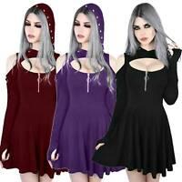 US Women Gothic Witch Hoodie Dress Cold Shoulder Punk Swing Halloween Mini Dress