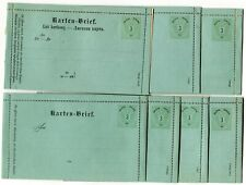 Austria 1886 postal stationery letter cards x7 diff Mi K.1a-K.7a unused (faults)